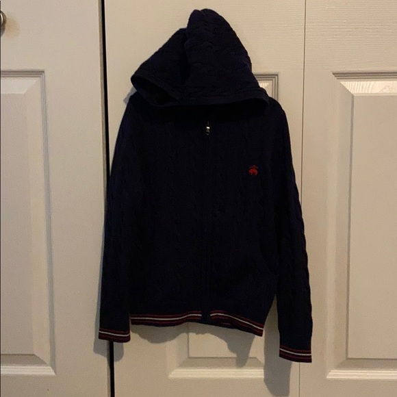 Brooks brothers navy blue/red/white zipup Cardigan
